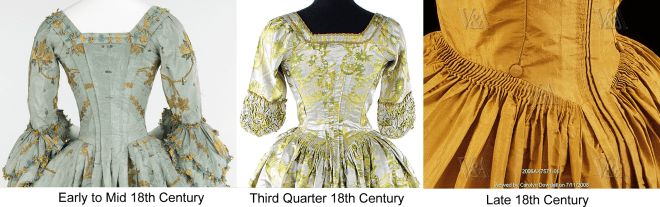 English gowns were in style for nearly the entire 18th century, with pleats and fabric weight getting lighter as the century wore on.