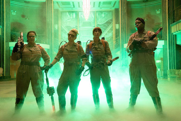 The Ghostbusters Abby (Melissa McCarthy), Holtzmann (Kate McKinnon), Erin (Kristen Wiig) and Patty (Leslie Jones) inside the Mercado Hotel Lobby in Columbia Pictures' GHOSTBUSTERS.