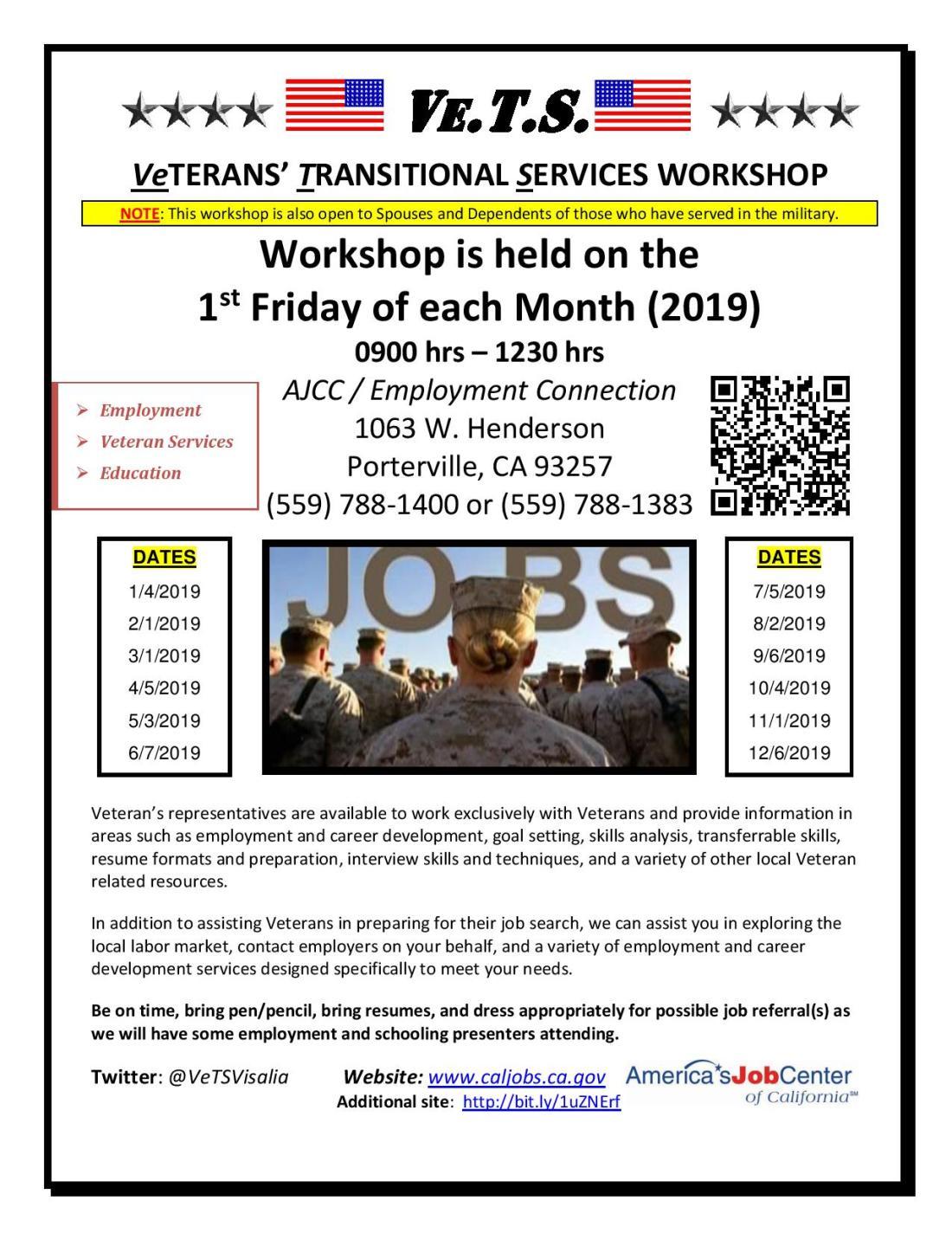 2019 Porterville Veterans transitional workshop