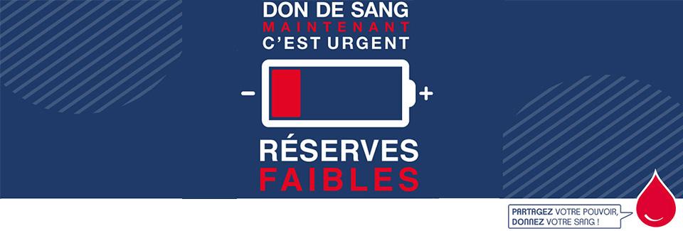 Urgence don du sang : réserves faibles
