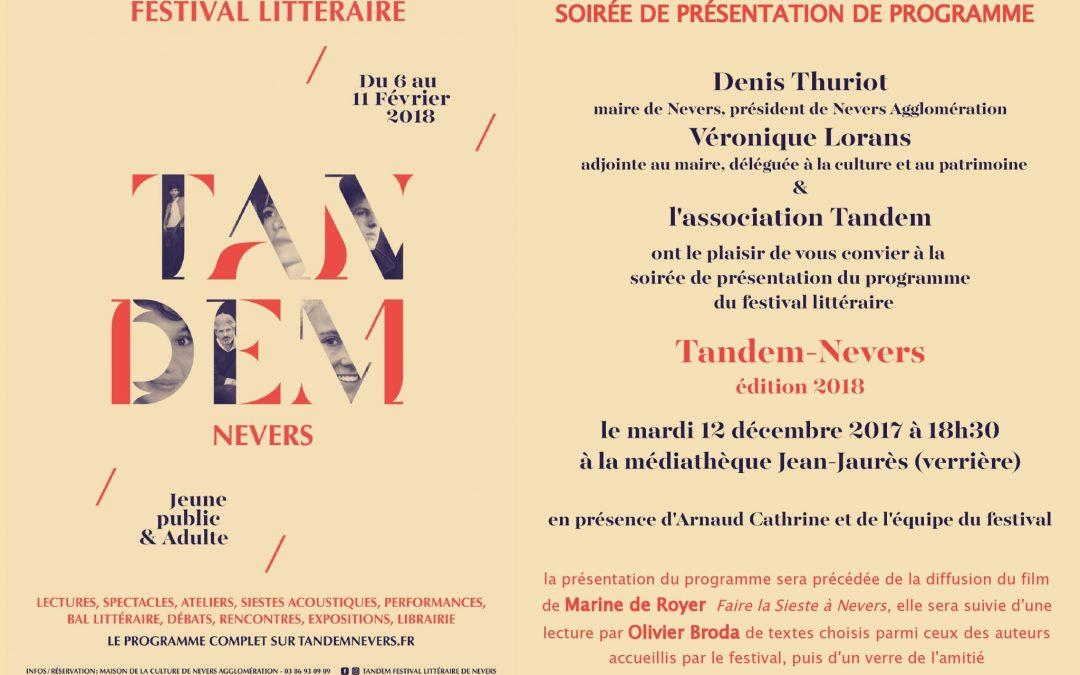 Soirée de présentation du festival TANDEM