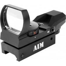 Aim Sports RT403 Reflex Red Dot 1x 33mm Obj Unlimited Eye Relief Multi-Reticle Black