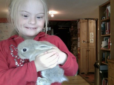 Magdalena with her rabbit Lucy