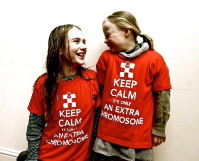 Agi K and Magdalena wearing Keep Calm T-shirts