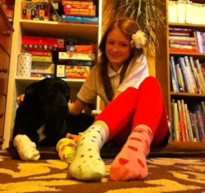 Rolo with her dog from Bristol wearing different socks