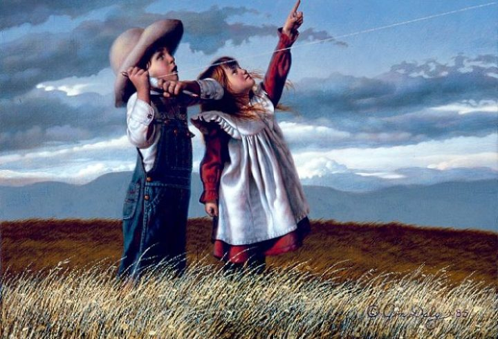Children Flying a Kite by Jim Daly