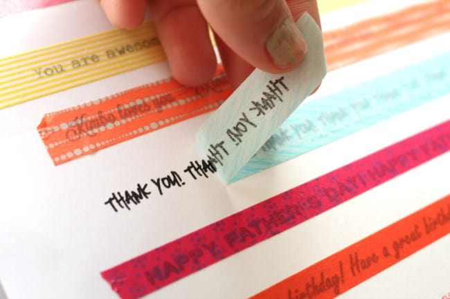 washi tape with words