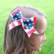 red white and blue hair bows