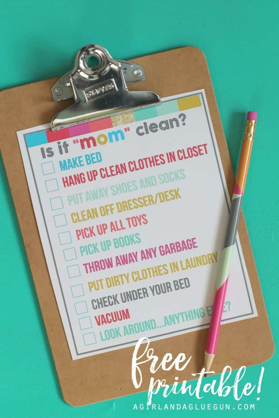 Is it mom cleanbedroom checklist printables  A girl