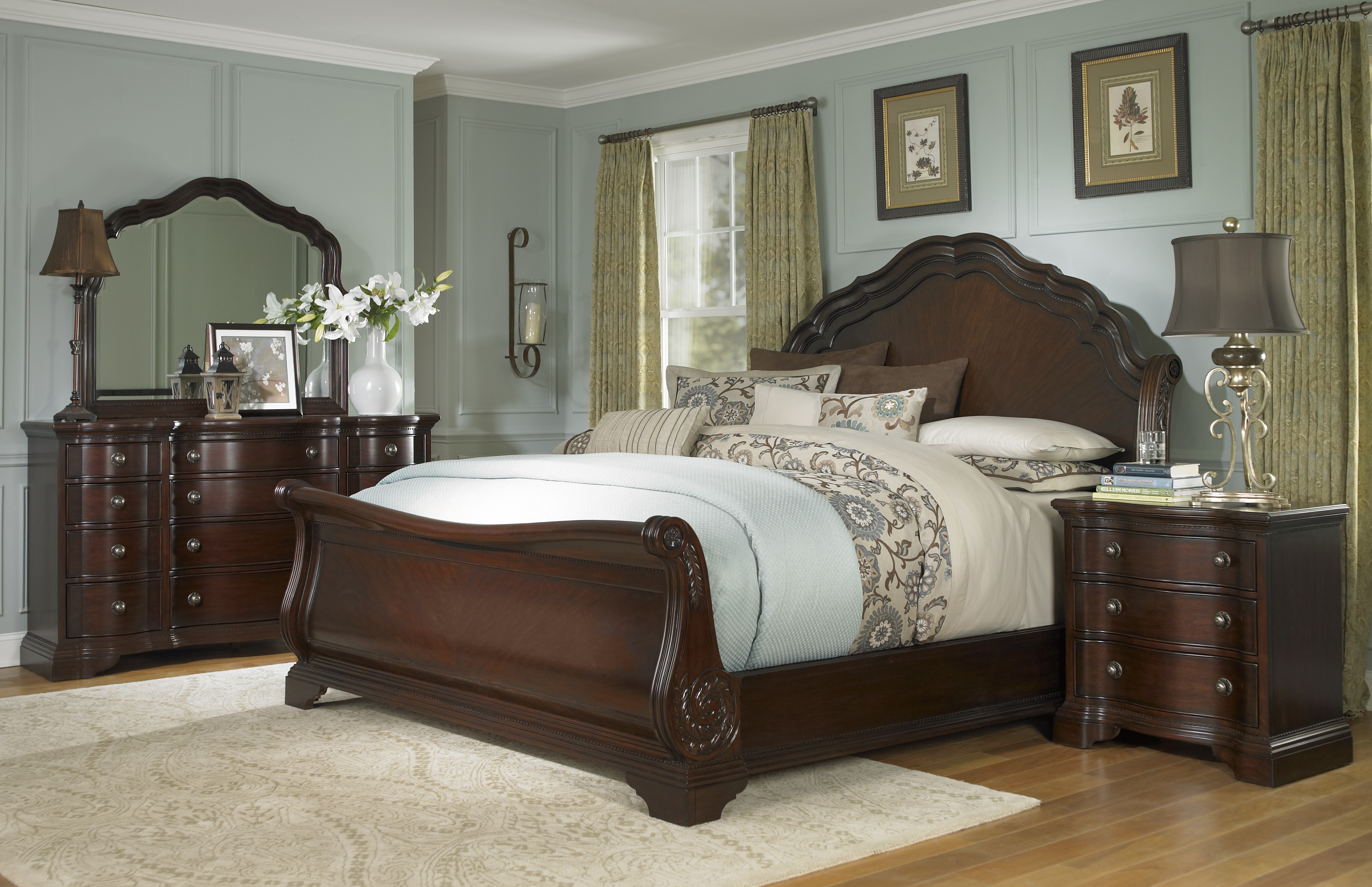 Bedroom Gorgeous King Sleigh Bed With Beautiful Colors