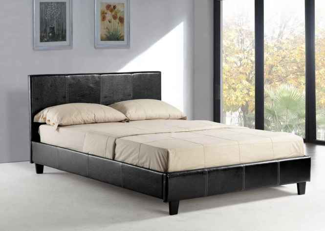 Window Glass And Leather Headboard Queen Size Platform Bed