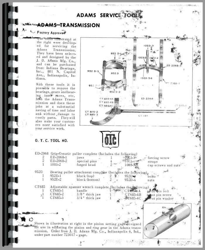 Adams 440 Grader Service Manual