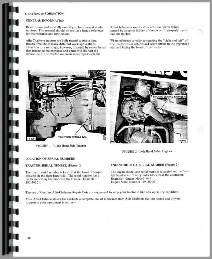 Allis Chalmers 185 Tractor Operators Manual