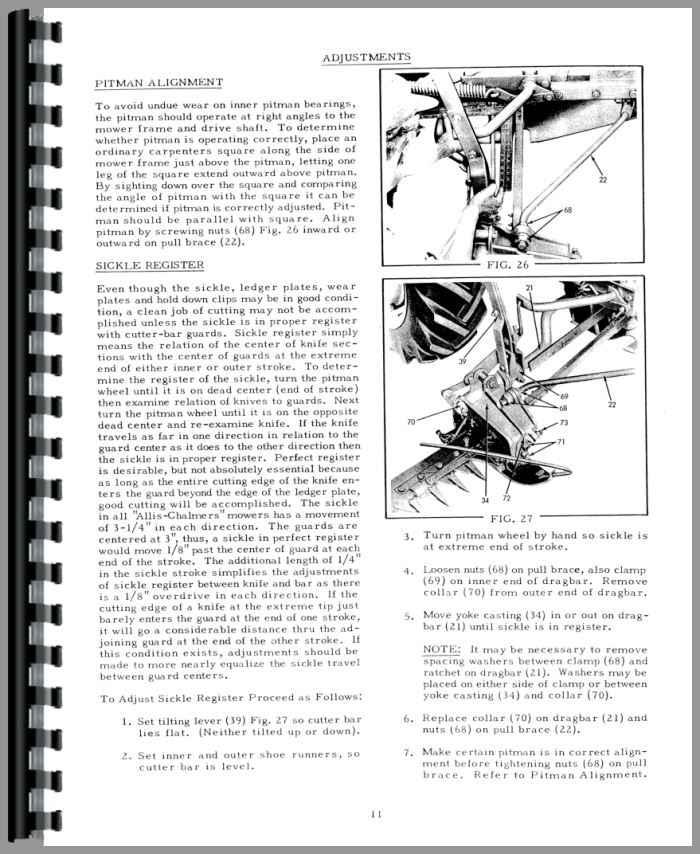 Allis Chalmers CA Sickle Bar Mower Operators & Parts Manual