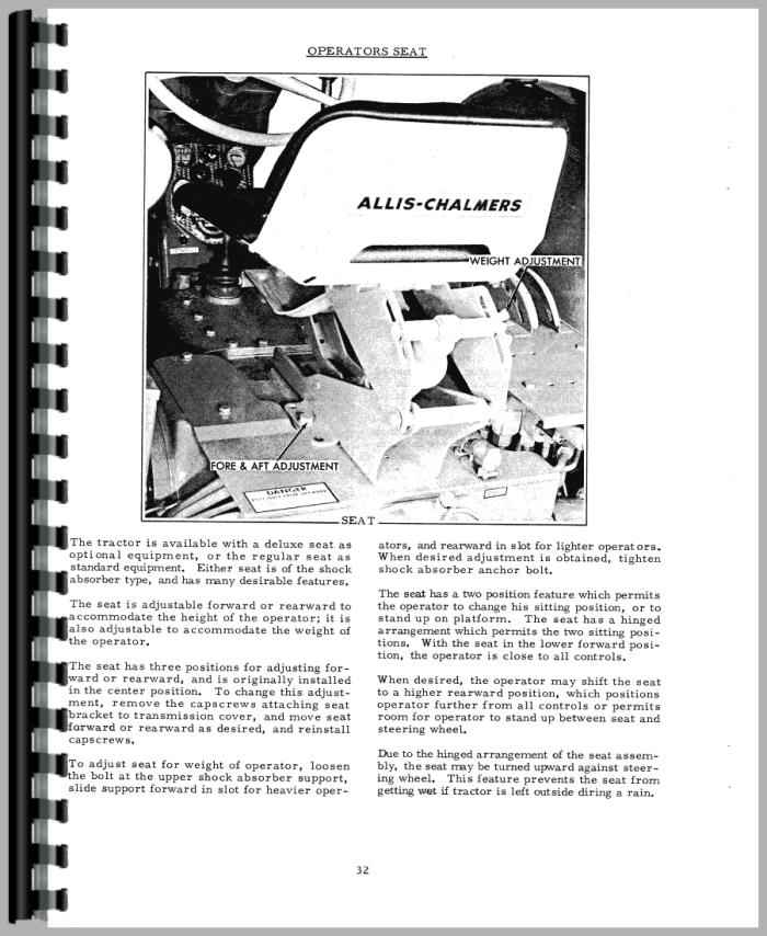 Allis Chalmers D17 Tractor Operators Manual
