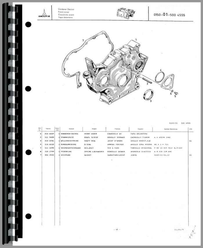 Deutz D6206 Tractor Parts Manual