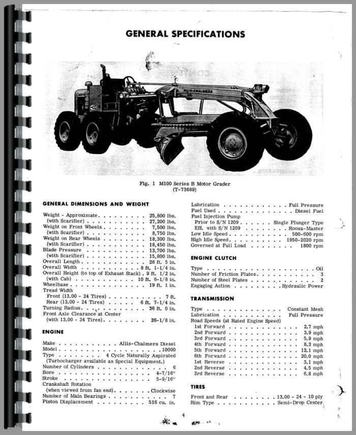 Allis Chalmers M-100B Motor Grader Operators Manual