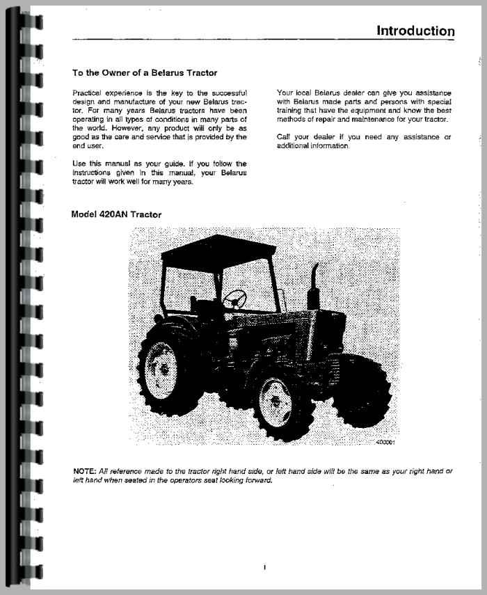 Belarus 420AN Tractor Operators Manual
