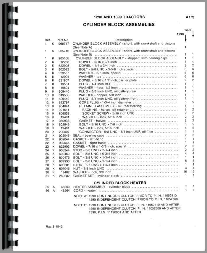 Case 1290 Tractor Parts Manual