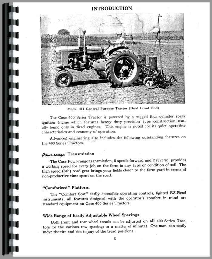 Case 400 Tractor Operators Manual