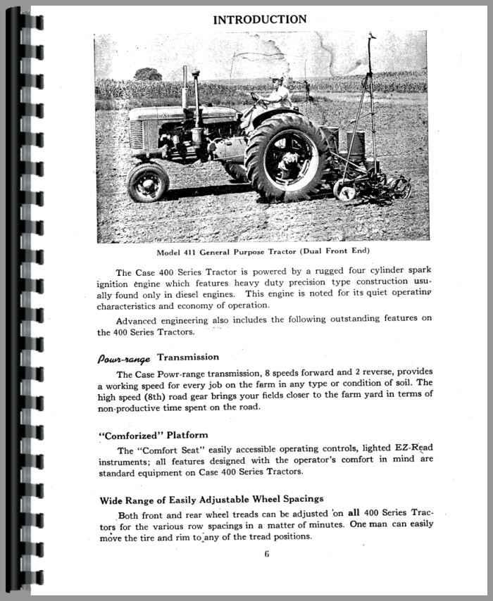 Case 400 Tractor Operators Manual