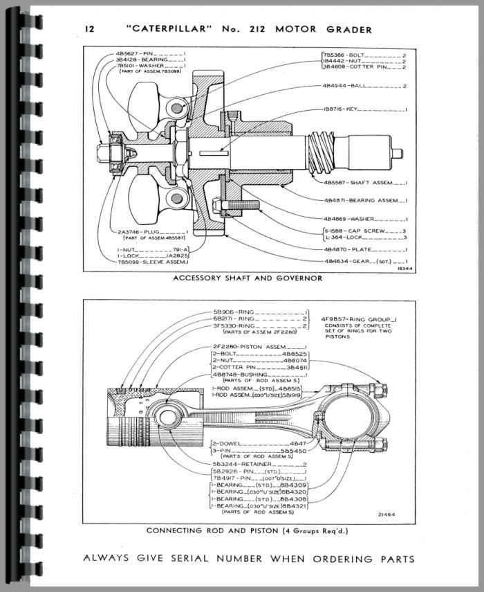 Caterpillar 212 Grader Parts Manual