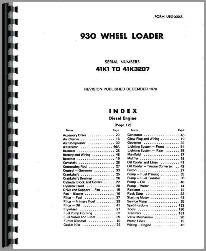 Caterpillar 930 Wheel Loader Parts Manual