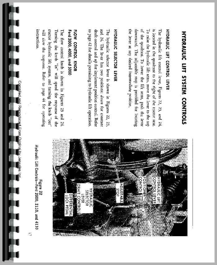 Ford 2000 Tractor Operators Manual