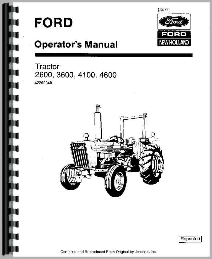 Ford 2600 Tractor Operators Manual