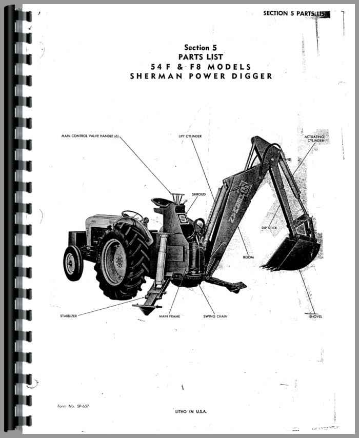 Ford 800 Sherman 54F Backhoe Attachment Parts Manual
