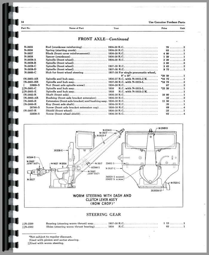 Ford Fordson N Tractor Parts Manual