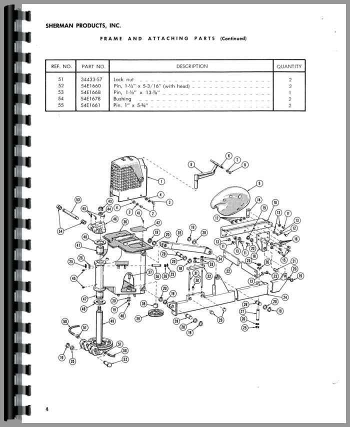 Ford Super Major Sherman 54E Backhoe Attachment Parts Manual
