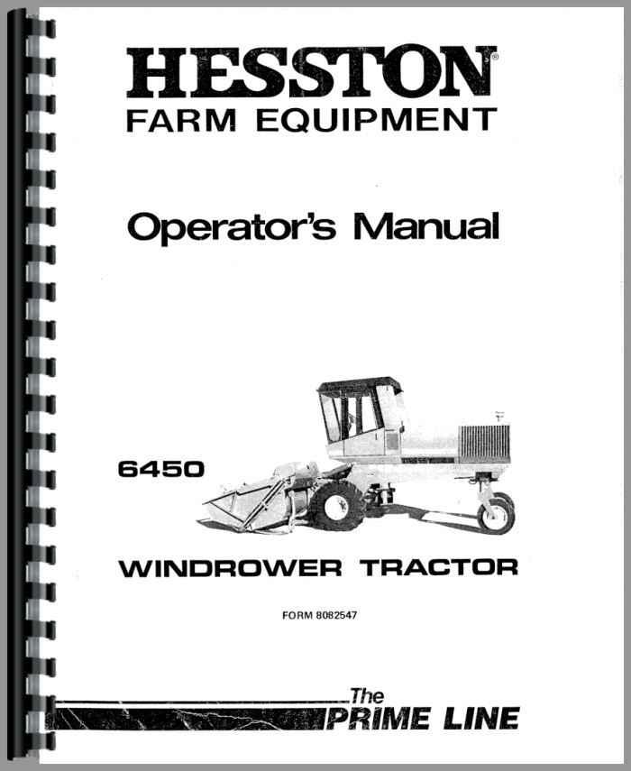 Hesston 6450 Windrower Operators Manual