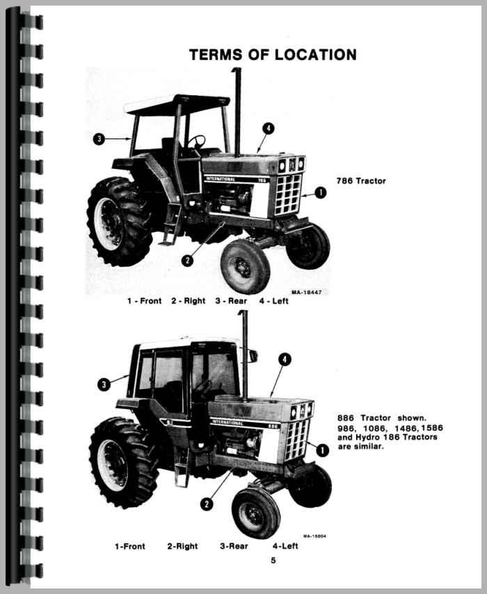 International Harvester 1086 Tractor Operators Manual