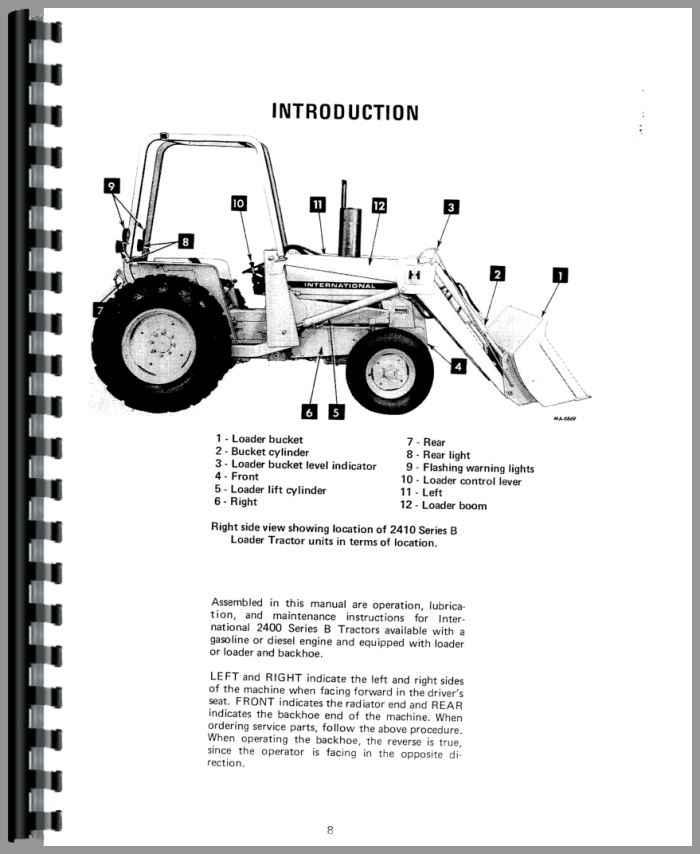 International Harvester 2410B Industrial Tractor Operators