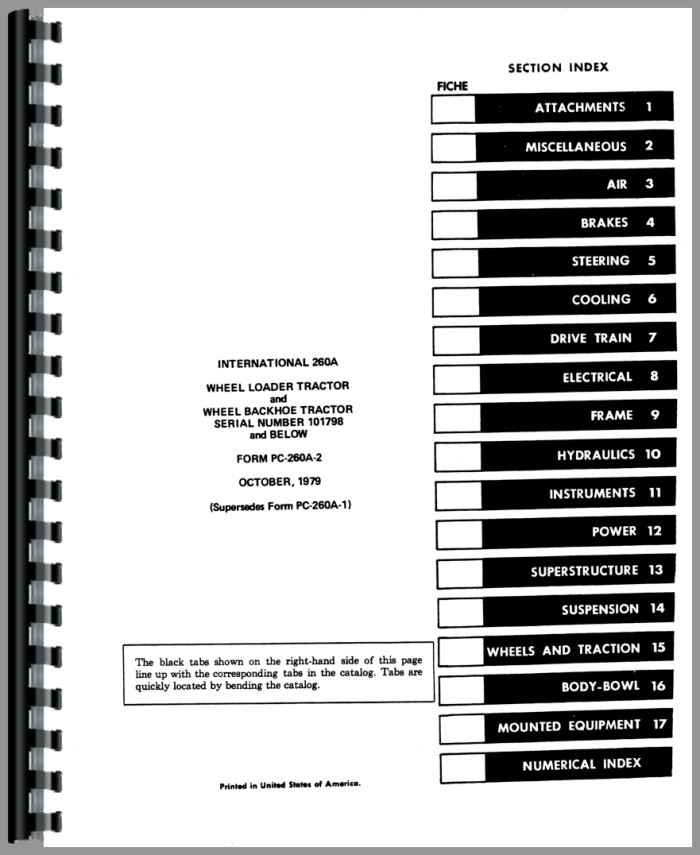 International Harvester 260A Industrial Tractor Parts Manual