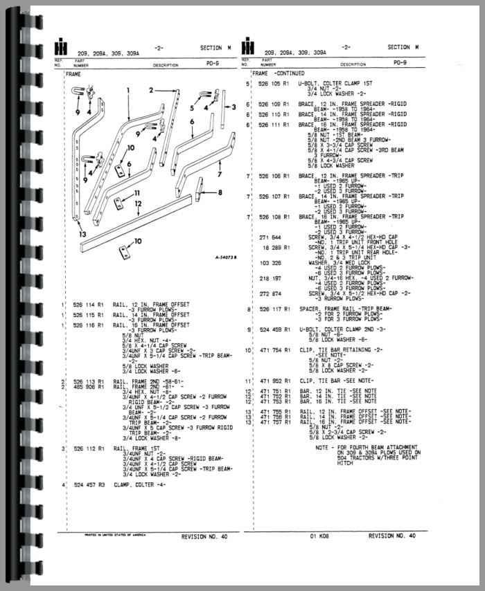 International Harvester 309 Plow Parts Manual
