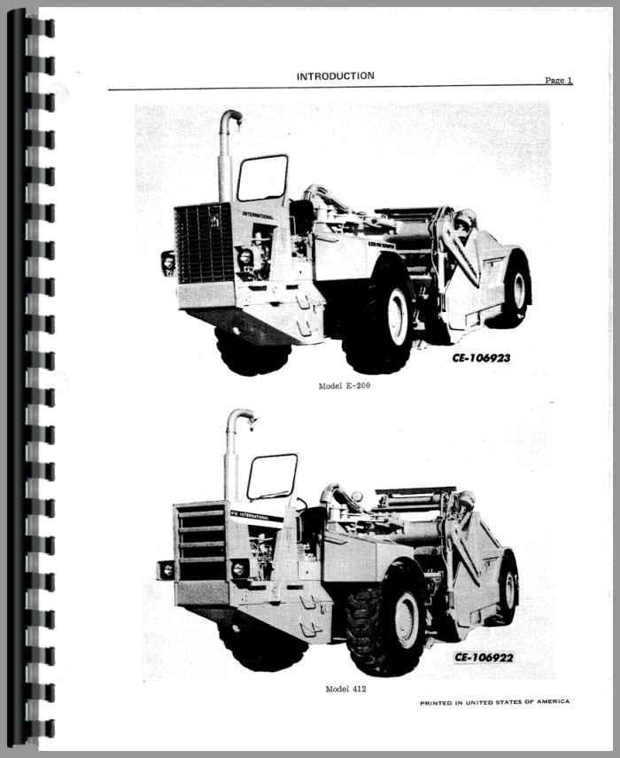 International Harvester 412 Elevating Scraper Service Manual