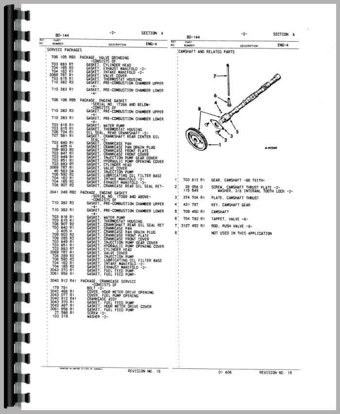 International Harvester 444 Tractor Engine Parts Manual