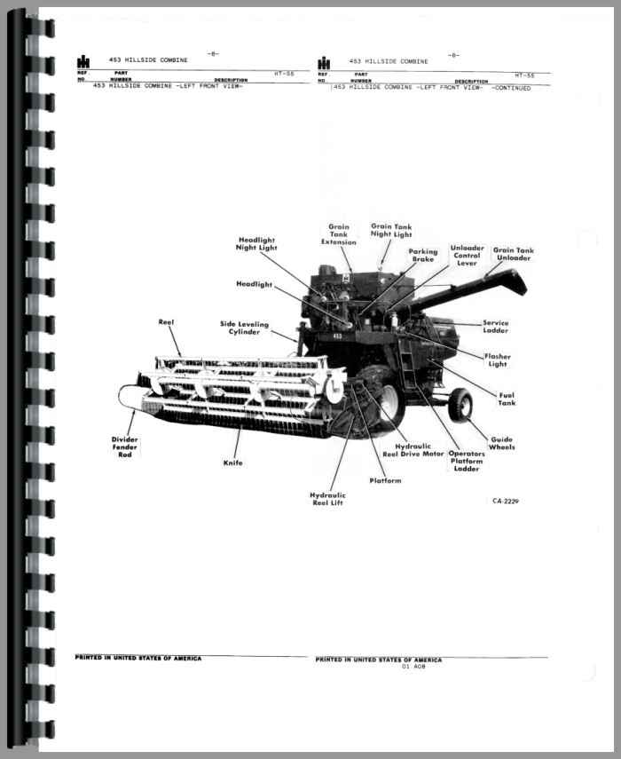 International Harvester 453 Combine Parts Manual