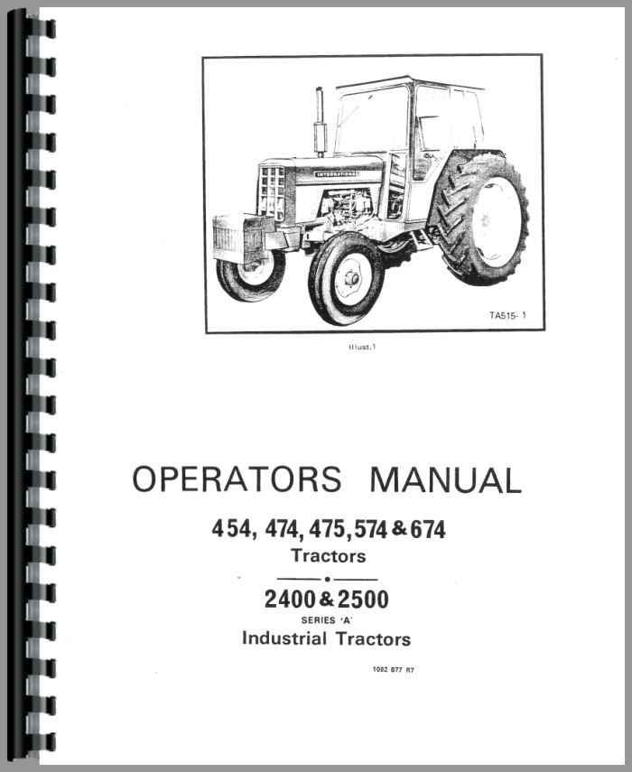 International Harvester 475 Tractor Operators Manual