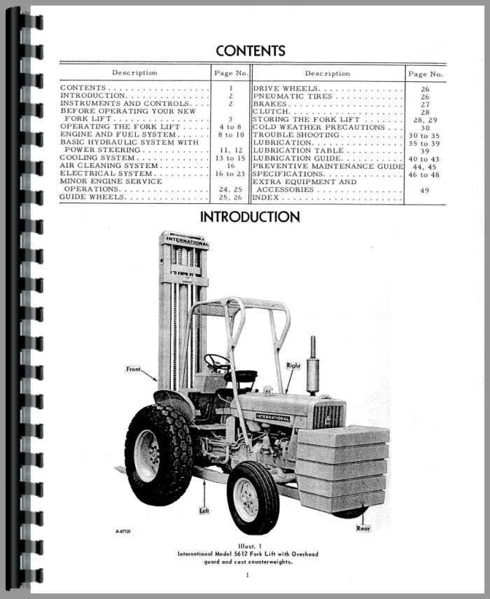 International Harvester 5421 Forklift Operators Manual