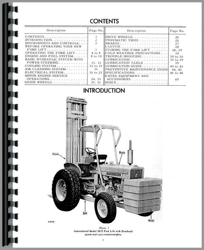 International Harvester 5514 Forklift Operators Manual