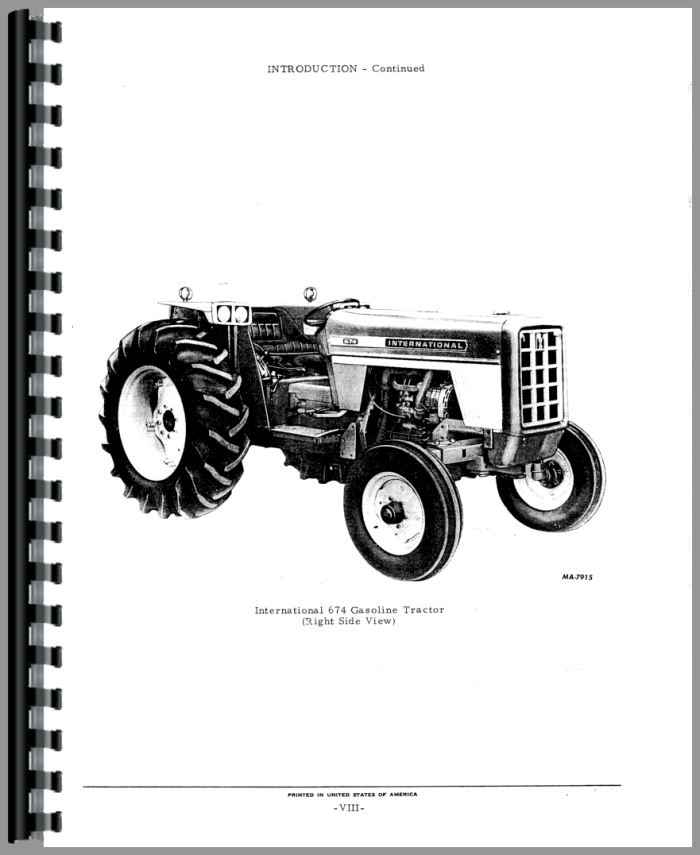 International Harvester 674 Tractor Parts Manual