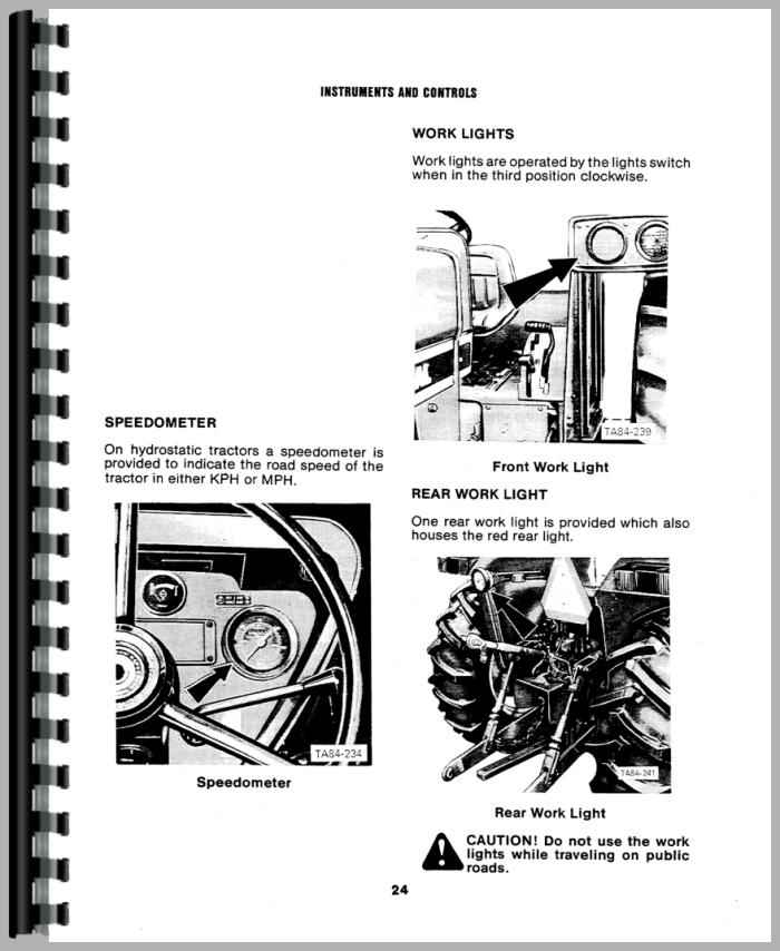 International Harvester 784 Tractor Operators Manual