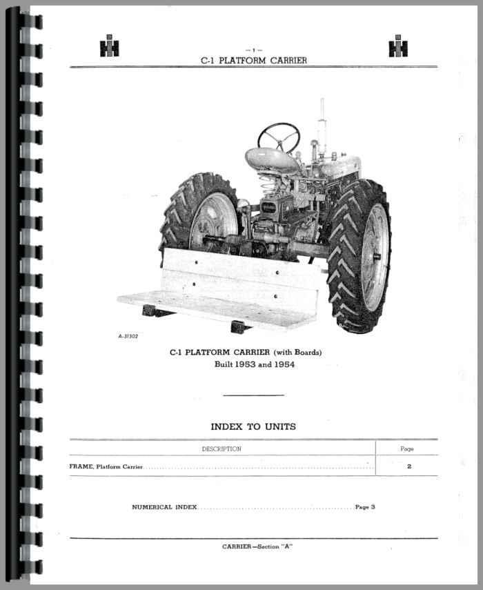 Farmall Super C Tractor Implement Attachments Parts Manual