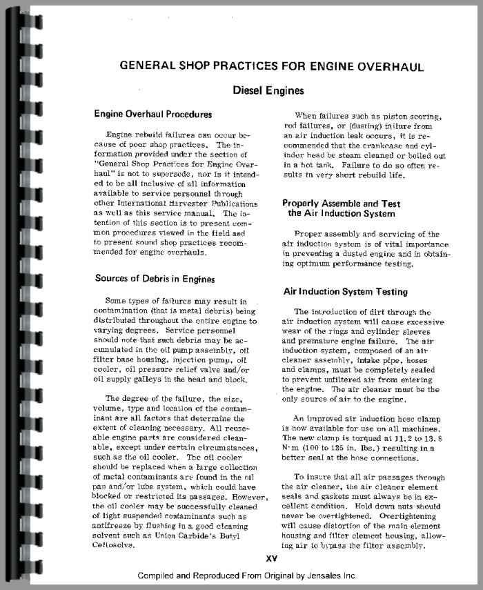1066 International Tractor Wiring Diagram International Harvester Dt466 Engine Service Manual