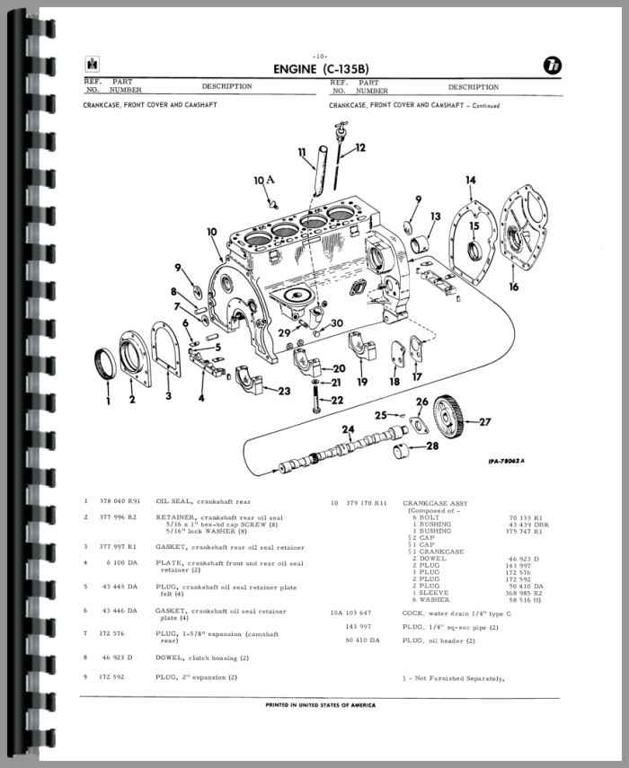 International Harvester UC135B Power Unit Parts Manual