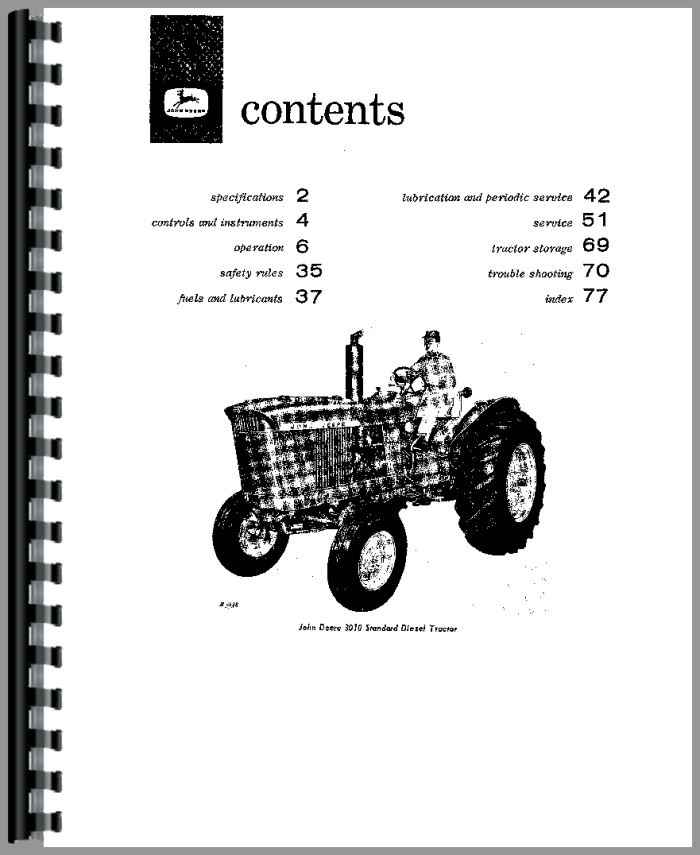 John Deere 3010 Tractor Operators Manual