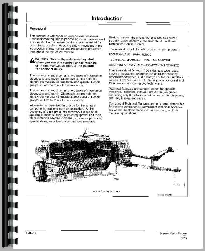 535 jd Baler workshop manual eject Screw
